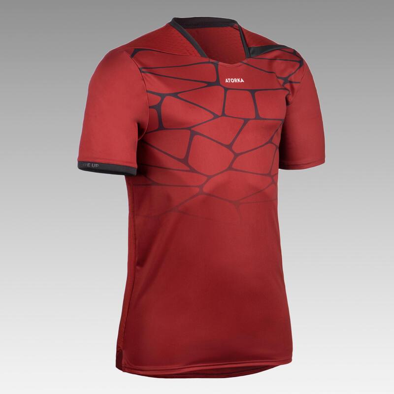 Handbalshirt voor heren H500 rood/zwart