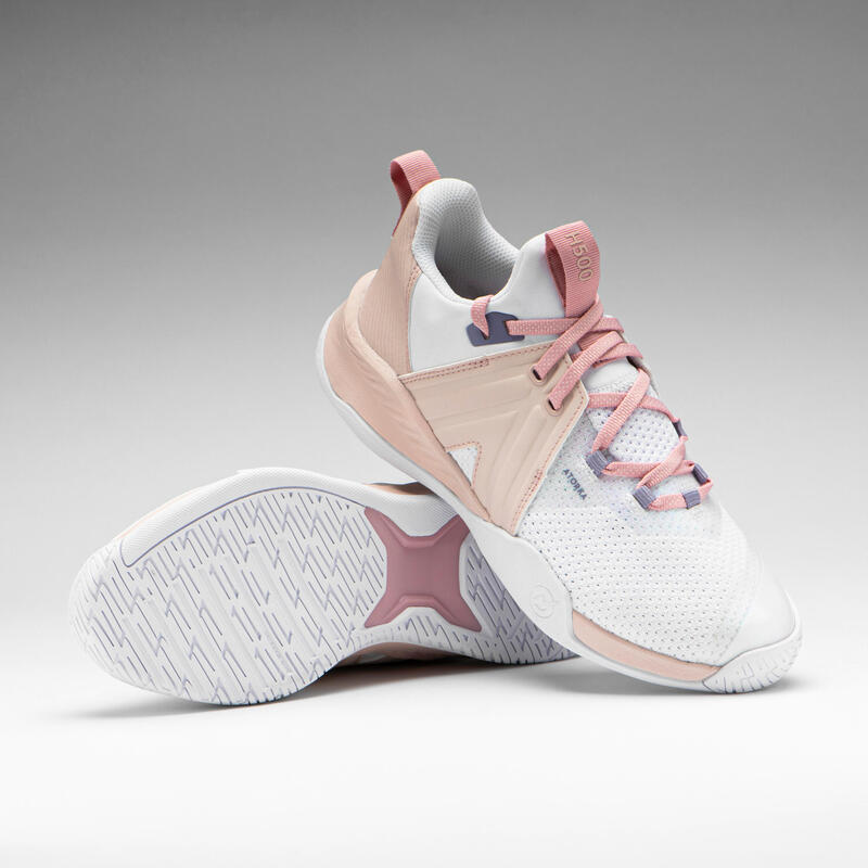 Zapatillas de balonmano adulto H500 FASTER rosa / blanco