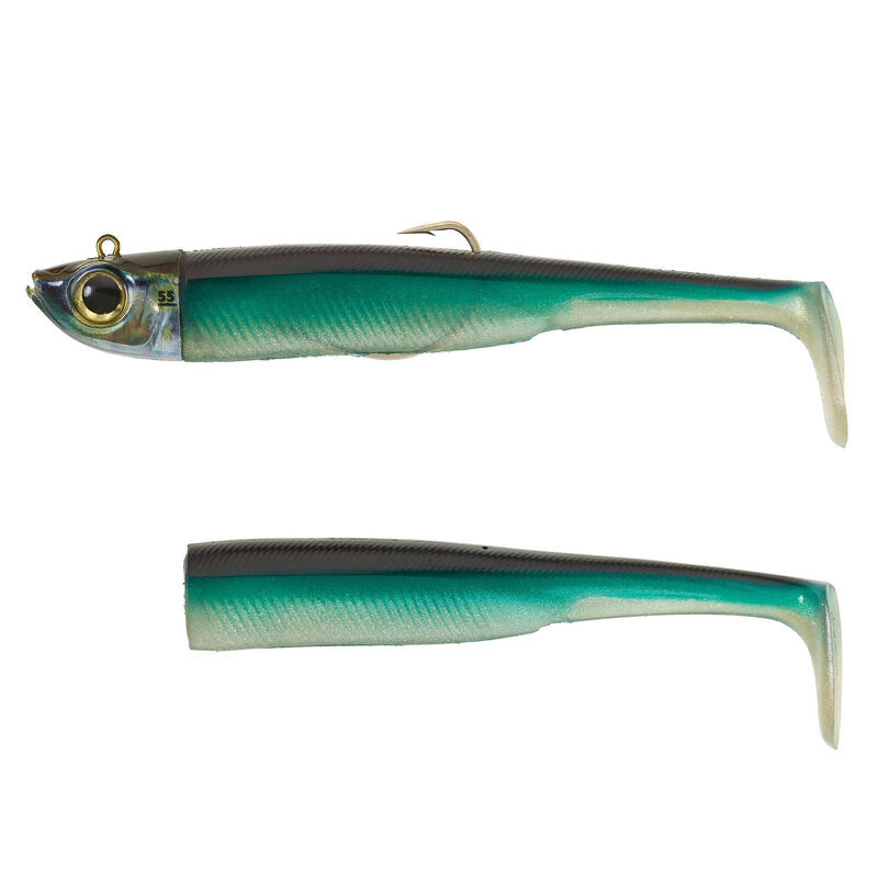 KIT leurres souples shad texan anchois ANCHO 150 55gr Bleu pêche en mer