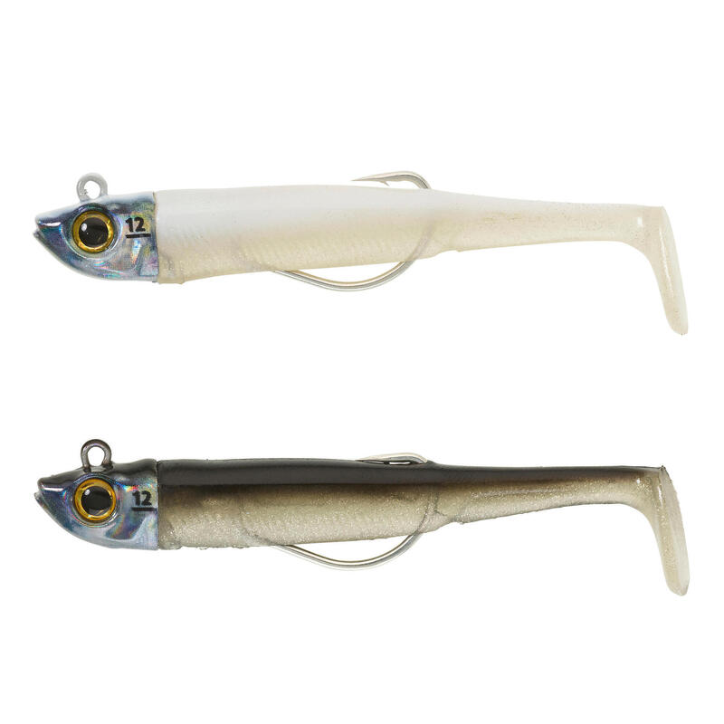 COMBO leurres souples texan ANCHO 90 12gr dos noir/blanc argent pêche en mer
