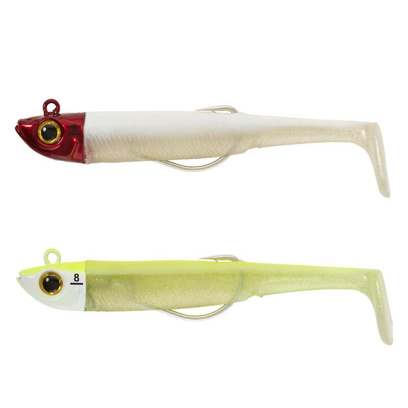 COMBO leurres souples texan ANCHO 90 8gr Têterouge/jaune fluo pêche en mer