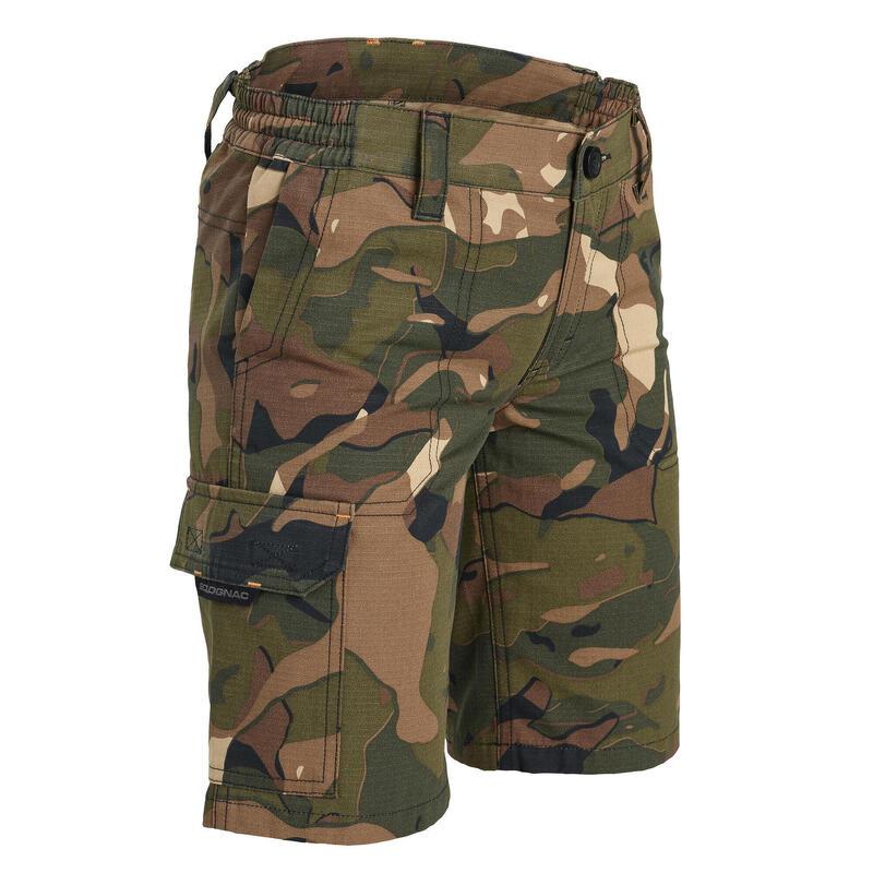 Bermuda chasse junior 500 camouflage vert et marron