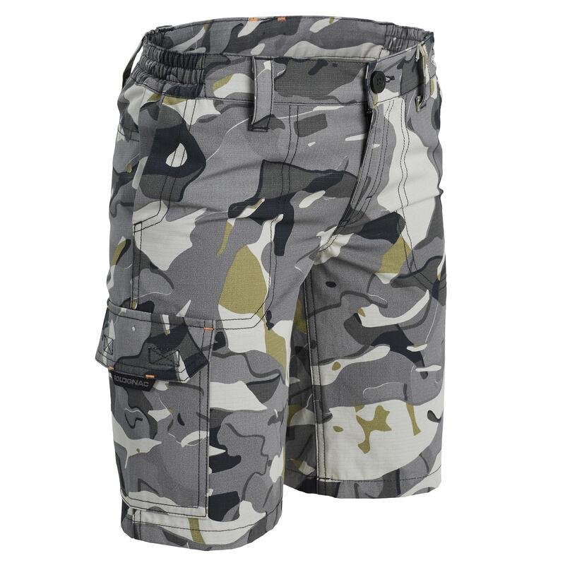 Bermuda chasse junior 500 camouflage gris
