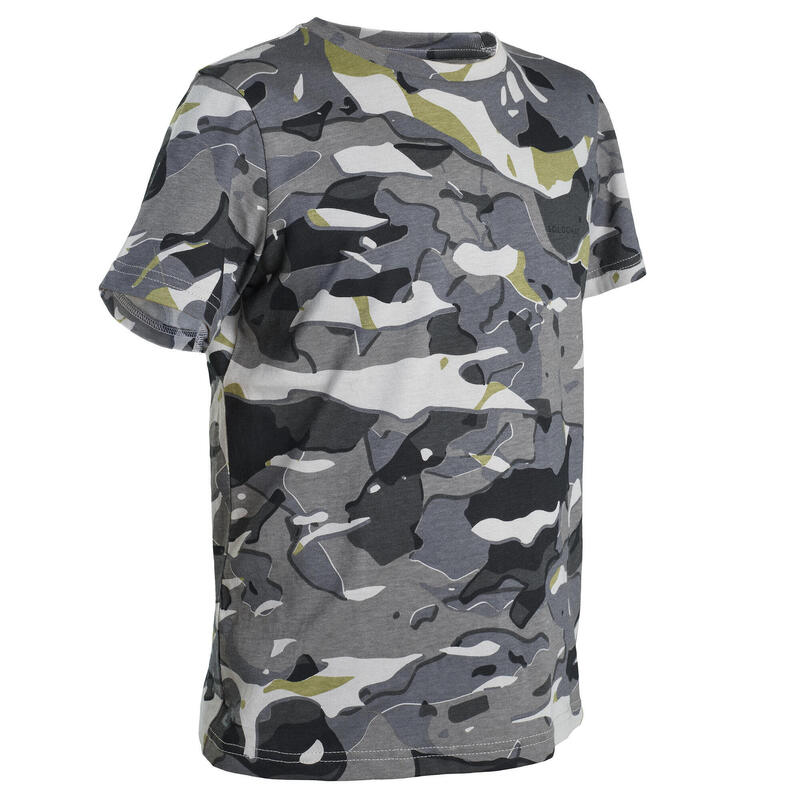 T-Shirt chasse manches courtes 100 junior camouflage woodland gris