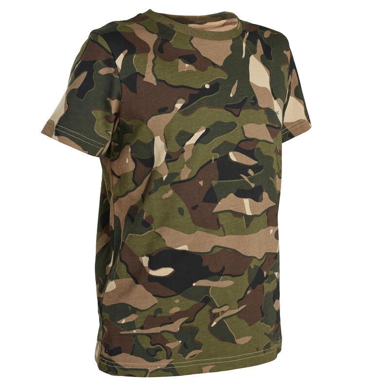 T-Shirt chasse manches courtes 100 junior camouflage woodland vert et marron