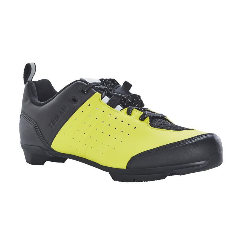 Fietsschoenen met veters voor recreatief fietsen SPD RC500 geel