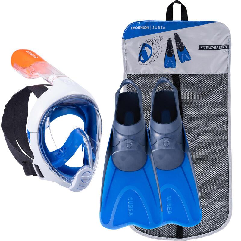 Kit Snorkel Máscara Easybreath Aletas Niños Azul