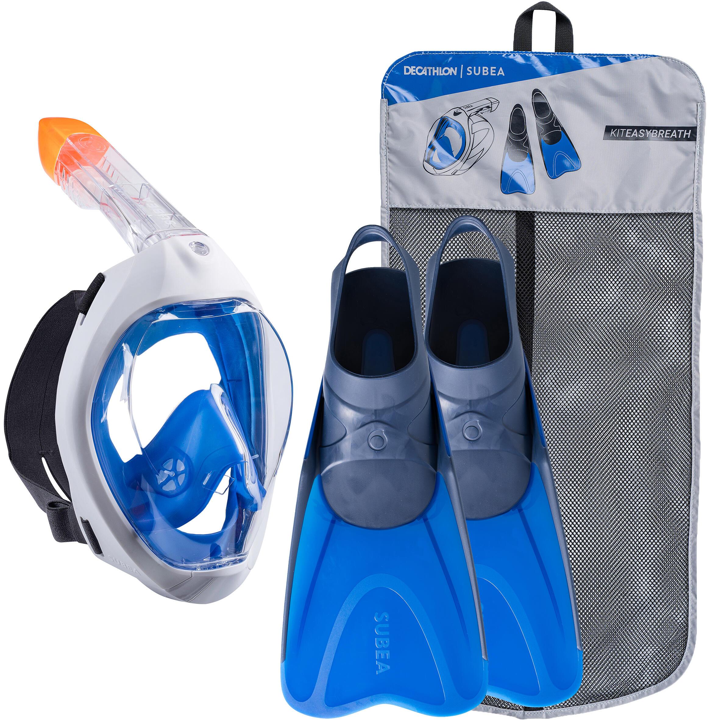 Snorkelset voor volwassenen easybreath masker en vinnen blauw