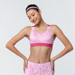 女款有氧健身訓練運動內衣900 - 粉色印花