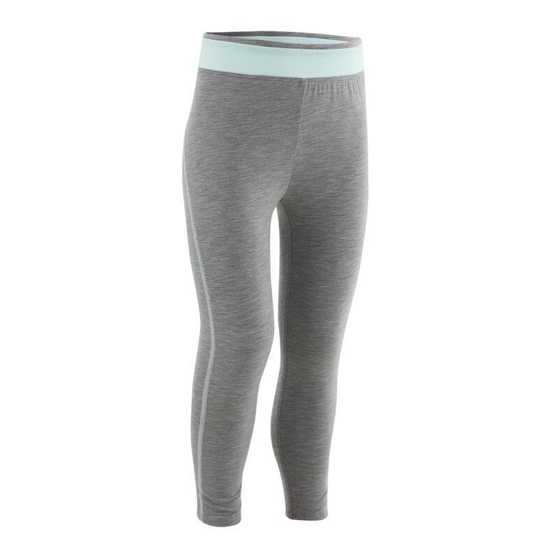 Ademende legging voor kleutergym meisjes grijs/blauw