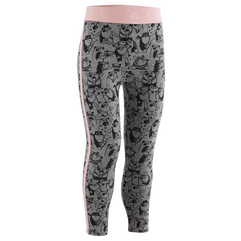 Warme legging voor kleutergym grijs/roze