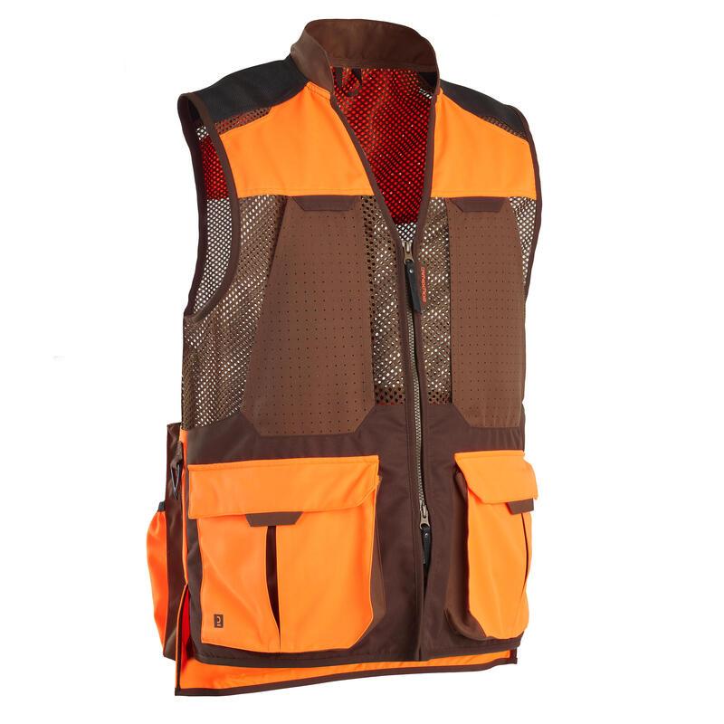 Gilet chasse 520 respirant fluo/marron V2