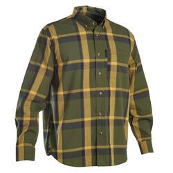 Overhemd voor de jacht lange mouwen SG100 LTD groen en geel