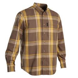 Overhemd voor de jacht lange mouwen SG100 LTD bruin en geel