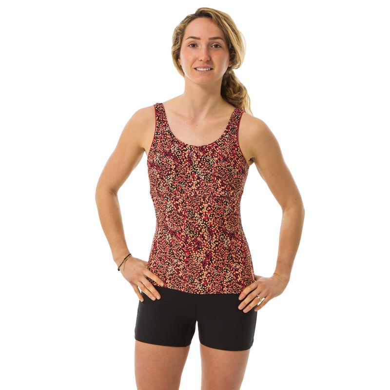 Women's one-piece aquafitness shorty swimsuit Doli - Pop pink