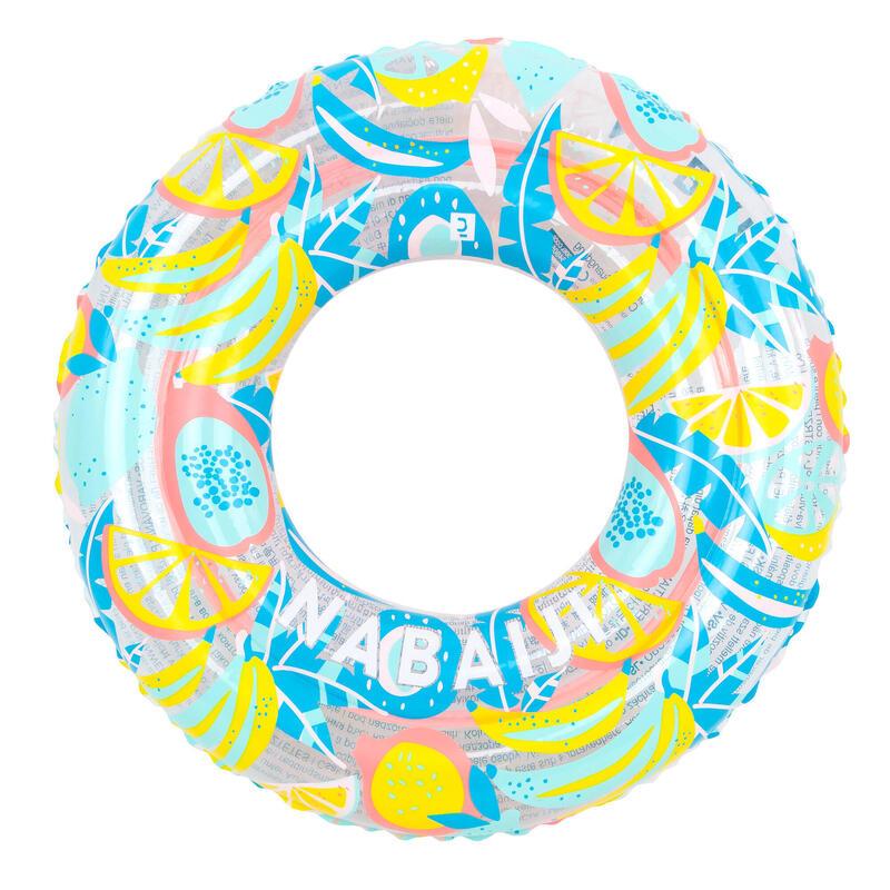 Opblaasbare zwemband voor kinderen van 3-6 jaar 51 cm doorzichtig roze met print