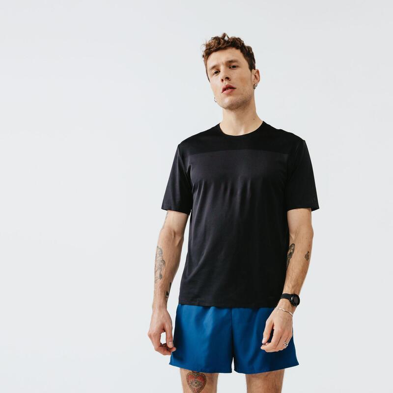 Tricou Respirant Alergare Jogging Run Dry+Breath Negru Bărbați