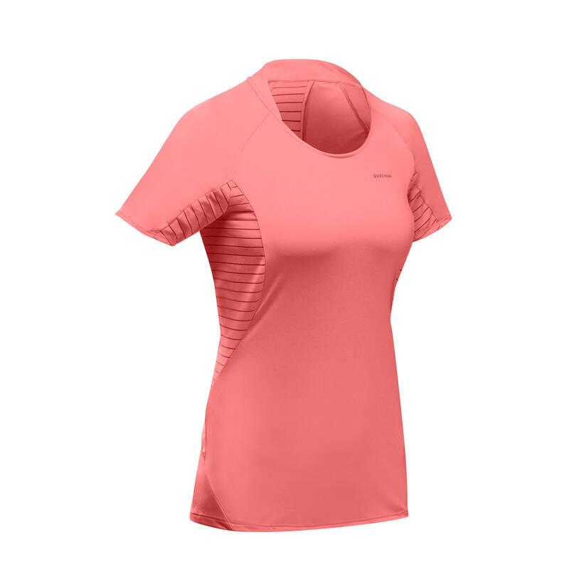 DÁMSKÁ TURISTICKÁ TRIČKA A KALHOTY Turistika - Tričko MH 500 růžové QUECHUA - Turistické oblečení
