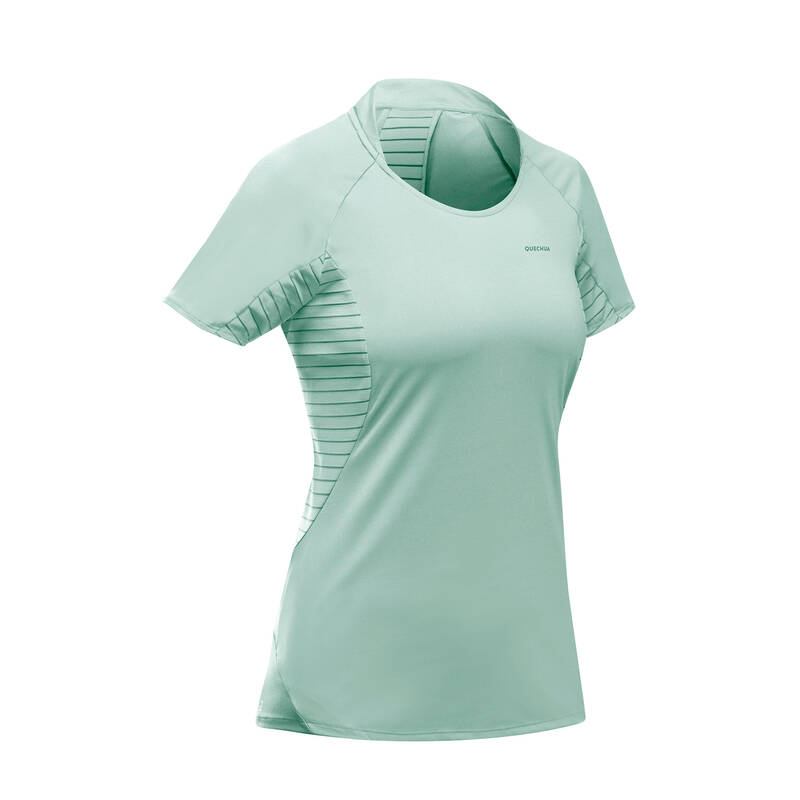 DÁMSKÁ TURISTICKÁ TRIČKA A KALHOTY Turistika - Tričko MH 500 světle zelené QUECHUA - Turistické oblečení
