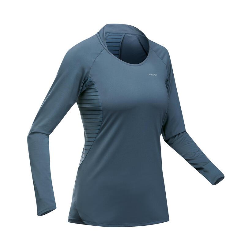 Shirt met lange mouwen voor bergwandelen dames MH550 grijsblauw