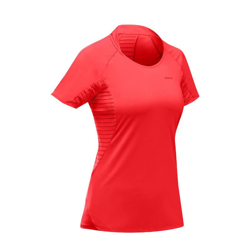 DÁMSKÁ TURISTICKÁ TRIČKA A KALHOTY Turistika - Tričko MH 500 korálové QUECHUA - Turistické oblečení