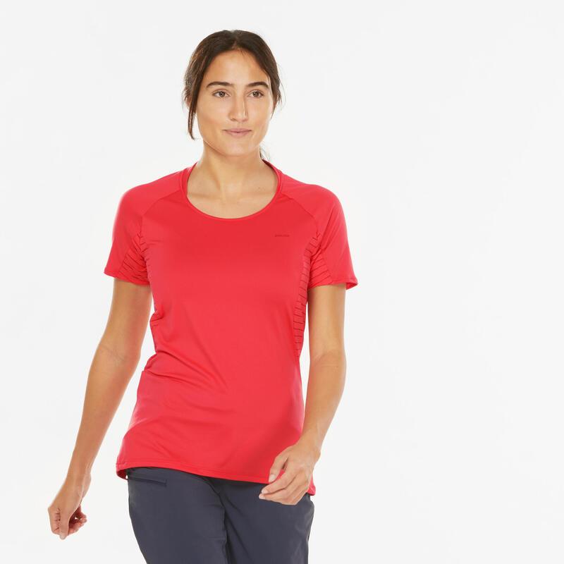 T-shirt manches courtes de randonnée montagne - MH500 - Femme
