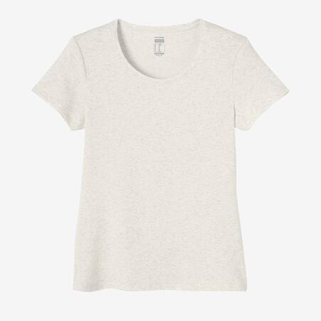 T-shirt fitness manches courtes slim coton extensible col rond femme blanc chiné