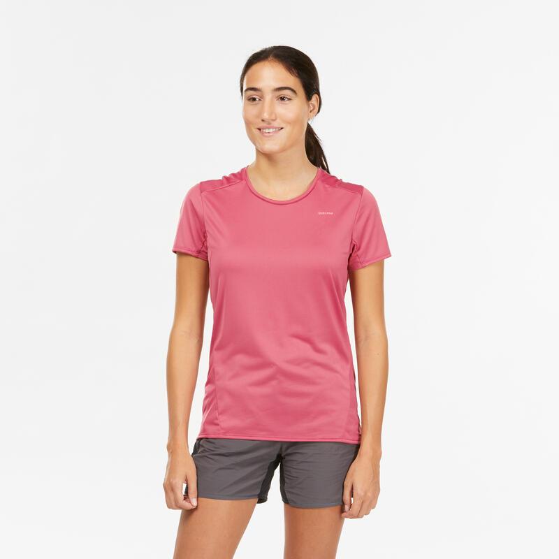 เสื้อยืดแขนสั้นสำหรับผู้หญิงใส่เดินป่าบนภูเขารุ่น MH100 (สีม่วง)