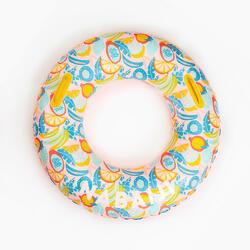 92 cm大型印花充氣式泳圈(附握把)黃藍配色
