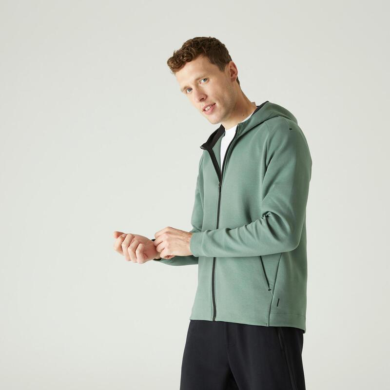 Hoodie met rits voor fitness ritszakken groen