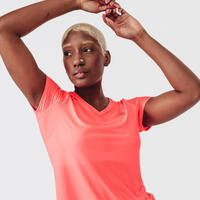 RUN DRY WOMEN'S T-SHIRT - FLUO PINK CORAL