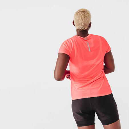 Playera Run Dry Mujer Rosa Coral Fluorescente