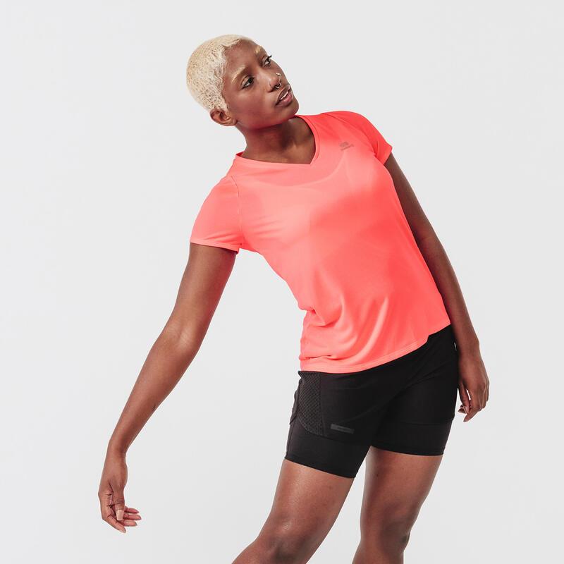 T-shirt de running manches courtes respirant femme - Dry rose