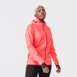 Giacca antivento running donna RUN WIND rosa corallo