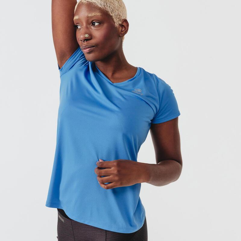 T-shirt de running manches courtes respirant femme - Dry bleu