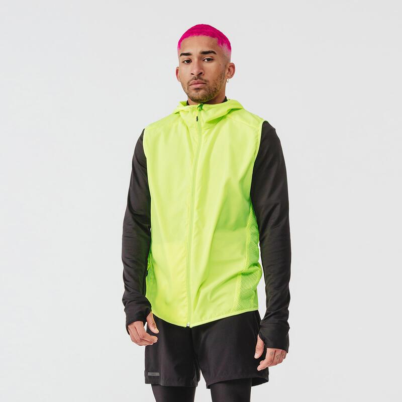 Run Wind Men's Running Sleeveless Wind Jacket - neon yellow