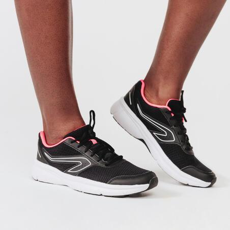 KALENJI RUN CUSHION WOMEN'S RUNNING SHOES - BLACK/CORAL