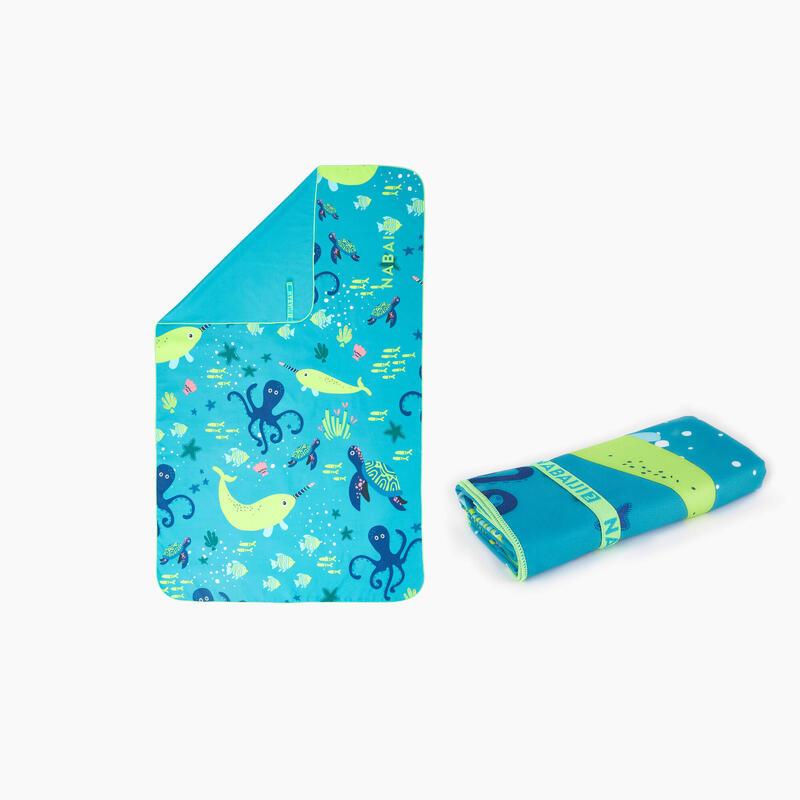 Mikrofiber Havlu - L Boy - Mavi Desenli