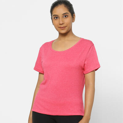Camiseta Mujer Manga Corta Algodón Extensible fitness Rosa