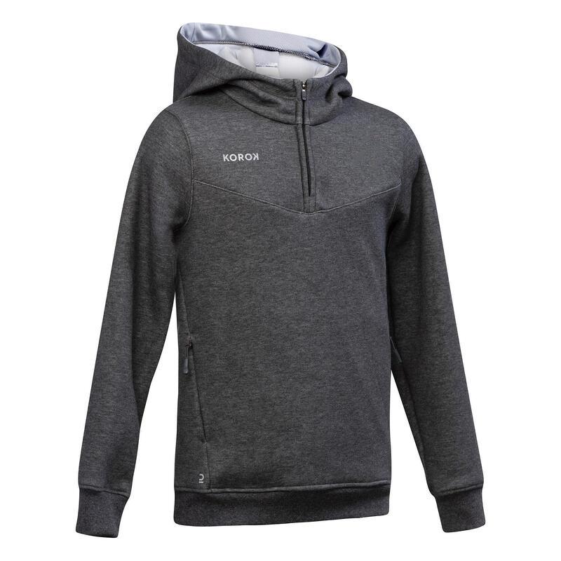 Sweat-shirt de hockey sur gazon enf FH500 gris