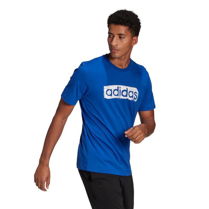 Fitnessshirt met print blauw