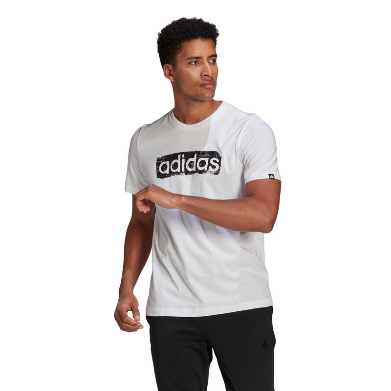 T-shirt fitness Adidas manches courtes slim 100% coton col rond homme blanc