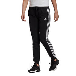 Jogginghose Fitness 3 Streifen Damen schwarz
