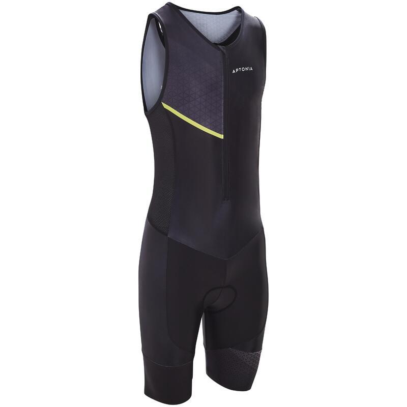 Men's Triathlon Sleeveless SD Front-Zipped Trisuit - Yellow/Black