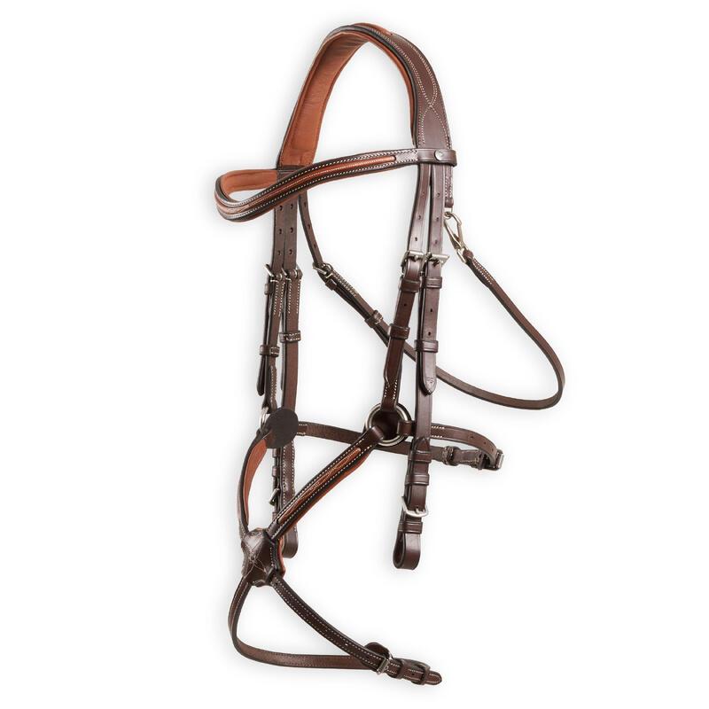 Filet cheval et poney cuir muserolle croisée surpiqué marron 580