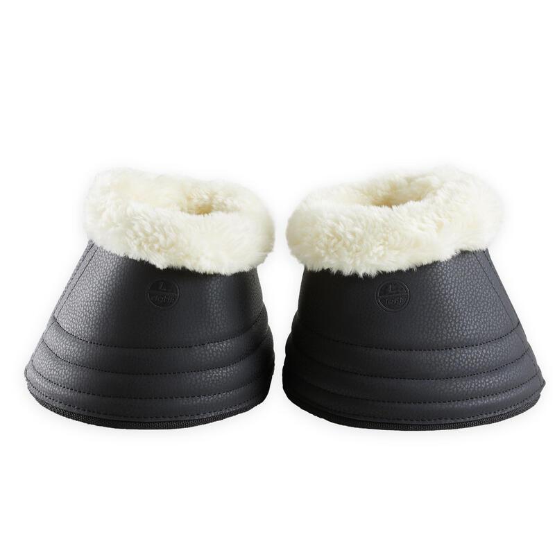 Open springschoenen voor dressuurpaard 500 imitatieschapenvacht zwart 2 stuks