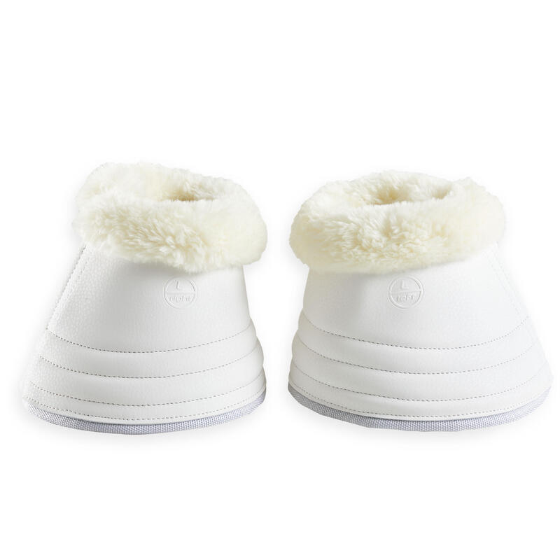 Horse Dressage Synthetic Sheepskin Open Overreach Boots 500 Twin-Pack - White