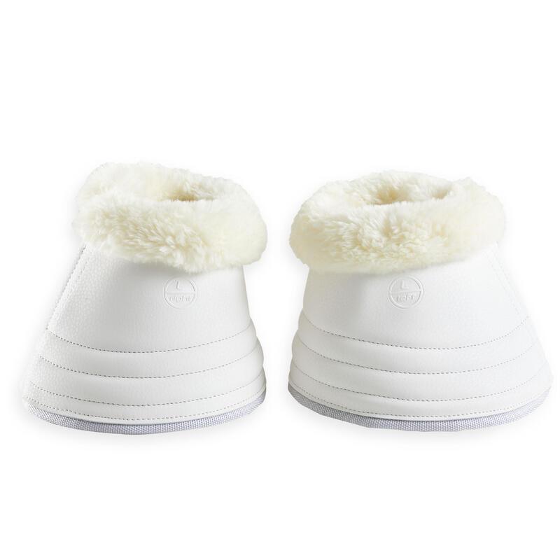 Open springschoenen voor dressuurpaard 500 imitatieschapenvacht wit 2 stuks