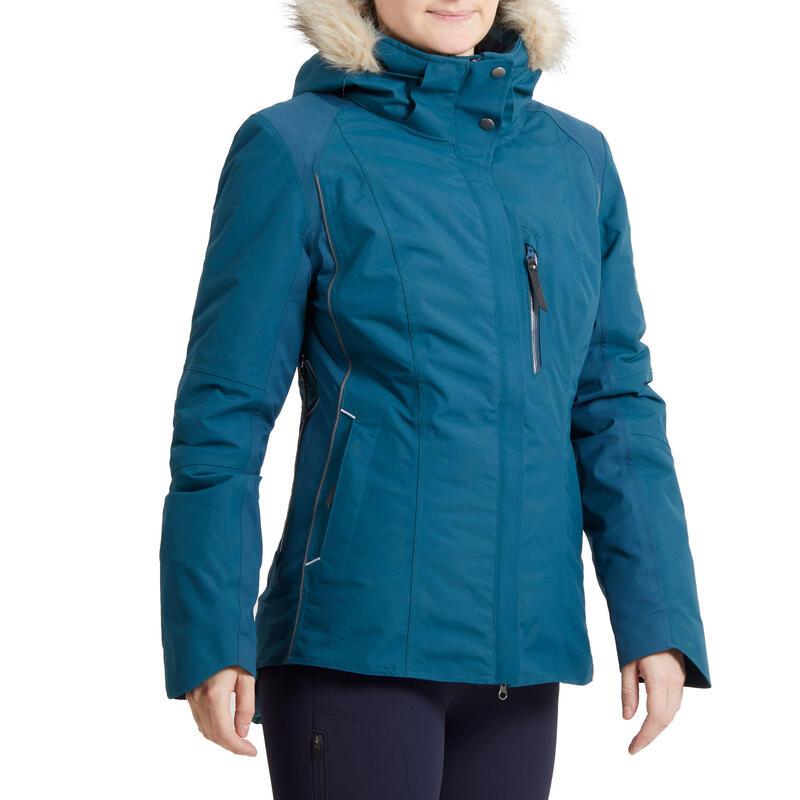 Veste équitation femme chaude et imperméable vert pétrole 580