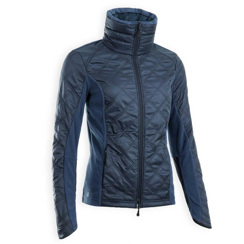 Polaire équitation femme bi-matière bleu turquin 500